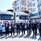 Ramazan yardımları kapsamında Mersin'den İdlib ve Azez'e 11 tır gıda yardımı gönderildi